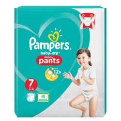 Pack 21 Couches Pampers Baby Dry Pants taille 7 sur 123 Couches