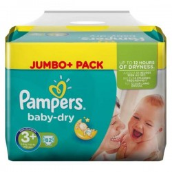 Pack 82 Couches de Pampers Baby Dry taille 3+ sur 123 Couches