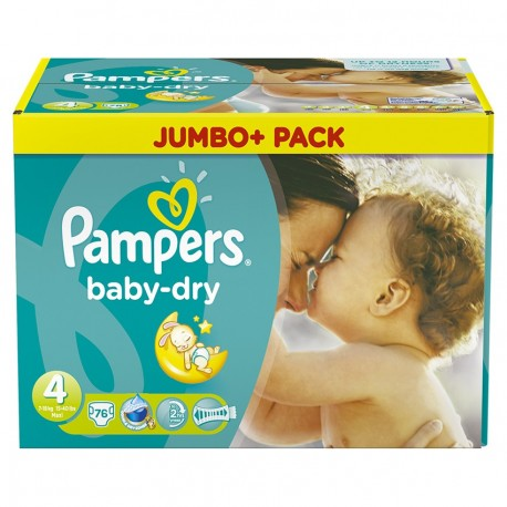 Pack de 76 Couches de Pampers Baby Dry taille 4 sur 123 Couches