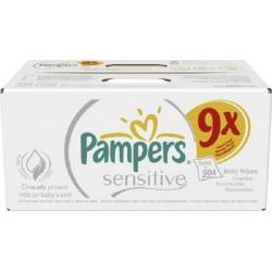 Pack économique de 504 Lingettes Bébés Pampers Sensitive Baby - 9 Packs de 56