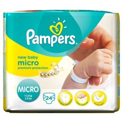 Pack d'une quantité de 24 Couches Pampers New Baby Micro taille 0
