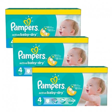 Mega pack 147 Couches Pampers Active Baby Dry taille 4 sur 123 Couches