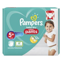 Pack 34 Couches Pampers Baby Dry Pants taille 5+ sur 123 Couches