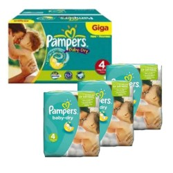 Maxi mega pack 480 Couches Pampers Baby Dry taille 4 sur 123 Couches