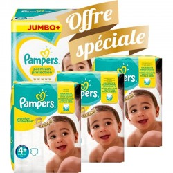 Mega pack 126 Couches Pampers New Baby Premium Protection taille 4+ sur 123 Couches