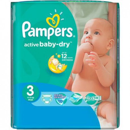 Pack 58 Couches Pampers Active Baby Dry taille 3 sur 123 Couches