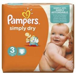 Pack d'une quantité de 315 Couches Pampers Simply Dry taille 3 sur 123 Couches