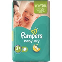 Pack de 88 Couches Pampers Baby Dry de taille 3+ sur 123 Couches