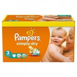 Maxi Pack d'une quantité de 240 Couches Pampers de la gamme Simply Dry taille 3 sur 123 Couches