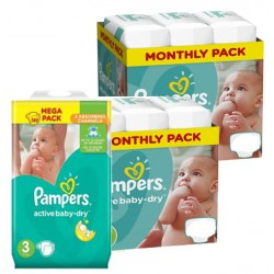 Mega pack 174 Couches Pampers Active Baby Dry taille 3 sur 123 Couches