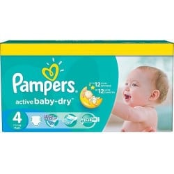 Maxi mega pack 424 Couches Pampers Active Baby Dry taille 4 sur 123 Couches