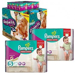 Mega pack 153 Couches Pampers Active Fit Pants taille 5 sur 123 Couches