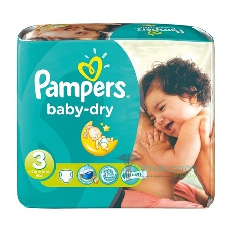 Pack 34 Couches Pampers Baby Dry de taille 3 sur 123 Couches