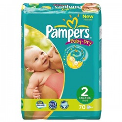 Pack 70 Couches Pampers Baby Dry taille 2 sur 123 Couches