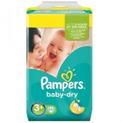 Pack 56 Couches de Pampers Baby Dry taille 3+ sur 123 Couches