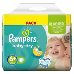 Pack économique 135 Couches Pampers Baby Dry de taille 6+ sur 123 Couches