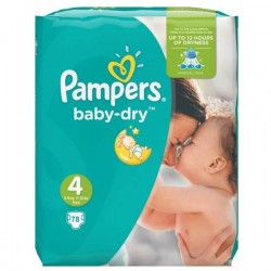 Pack 78 Couches de Pampers Baby Dry taille 4 sur 123 Couches