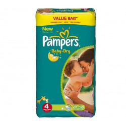 Pack 72 Couches Pampers Baby Dry taille 4 sur 123 Couches