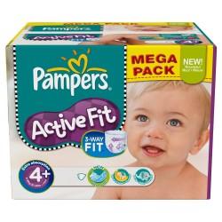 Pack d'une quantité de 210 Couches Pampers Active Fit de taille 4+ sur 123 Couches