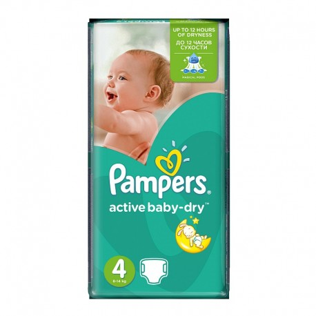 Pack 70 Couches Pampers Active Baby Dry taille 4 sur 123 Couches