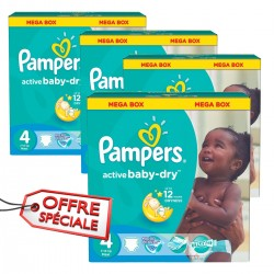 Maxi giga pack 350 Couches Pampers Active Baby Dry taille 4 sur 123 Couches