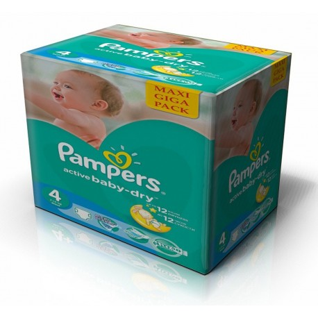 Maxi mega pack 490 Couches Pampers Active Baby Dry taille 4 sur 123 Couches