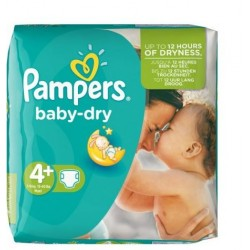 Pack 31 Couches Pampers Baby Dry taille 4+