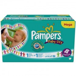 Maxi giga pack 372 Couches Pampers Baby Dry taille 4+