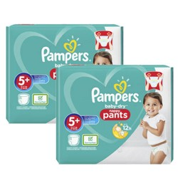 Mega pack 144 Couches Pampers Baby Dry Pants taille 5+ sur 123 Couches