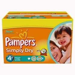 Pack 22 Couches Pampers Simply Dry taille 4+ sur 123 Couches