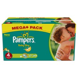 Pack économique 341 Couches Pampers Baby Dry taille 4 sur 123 Couches