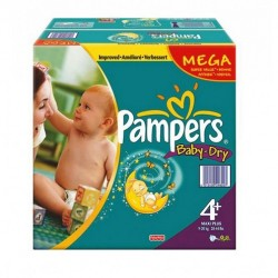 Pack économique 328 Couches Pampers Baby Dry de taille 4+ sur 123 Couches