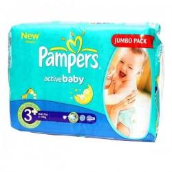 Pack d'une quantité de 64 Couches Pampers Active Baby taille 3+ sur 123 Couches
