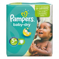 44 Couches Pampers Baby Dry taille 5+ sur 123 Couches