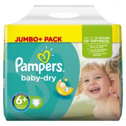 Maxi Pack 95 Couches Pampers Baby Dry taille 6+ sur 123 Couches