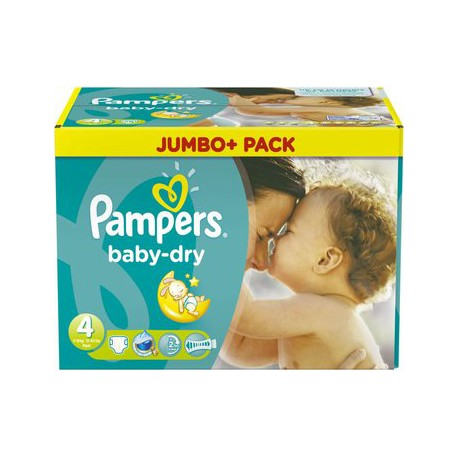 Pack de 60 Couches Pampers Baby Dry de taille 4 sur 123 Couches