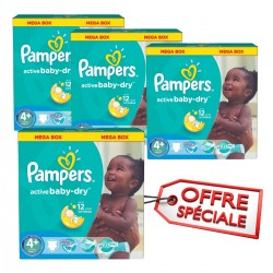 Pack 80 Couches Pampers Active Baby Dry taille 4+ sur 123 Couches