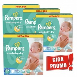 Maxi mega pack 400 Couches Pampers Active Baby Dry taille 4+ sur 123 Couches