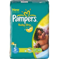 Pack de 30 Couches Pampers de la gamme Baby Dry taille 5