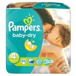 Pack de 96 Couches Pampers Baby Dry de taille 4 sur 123 Couches