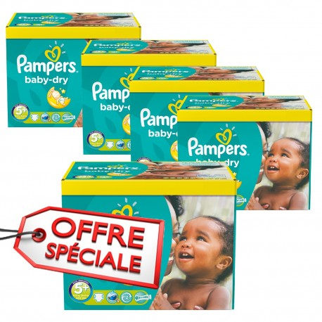 Pack 88 Couches Pampers Baby Dry taille 5+ sur 123 Couches