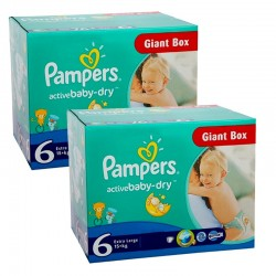 Mega pack 192 Couches Pampers Active Baby Dry taille 6 sur 123 Couches