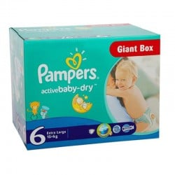 Maxi giga pack 312 Couches Pampers Active Baby Dry taille 6 sur 123 Couches