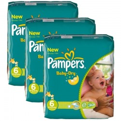 Pack jumeaux 608 Couches Pampers Baby Dry taille 6 sur 123 Couches