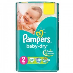 Pack d'une quantité de 64 Couches Pampers Baby Dry de taille 2 sur 123 Couches