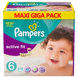 Pack 192 Couches Pampers de la gamme Active Fit taille 6 sur 123 Couches