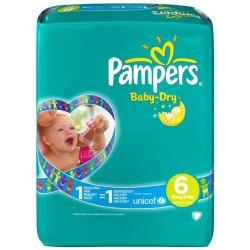 Maxi Pack d'une quantité de 110 Couches de Pampers Baby Dry taille 6 sur 123 Couches