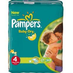 Pack 56 Couches Pampers de la gamme Baby Dry de taille 4 sur 123 Couches