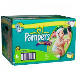 Pack 198 Couches Pampers de la gamme Baby Dry de taille 6 sur 123 Couches