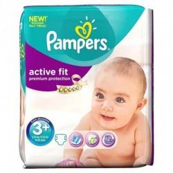 Pack de 29 Couches Pampers de la gamme Active Fit de taille 3+ sur 123 Couches